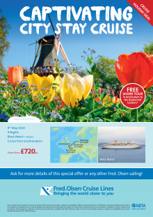 Getaway this spring on Fred. Olsen Cruise Lines 'Bright Lights and Overnights' cruise with the addition of a FREE shore tour in Amsterdam