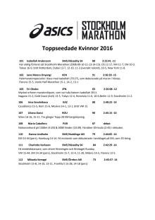 Toppseedade kvinnor ASICS Stockholm Marathon 2016