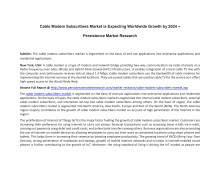 Cable Modem Subscribers Market is Expecting Worldwide Growth by 2024 –  Persistence Market Research