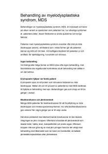 Behandling av myelodysplastiska syndrom, MDS