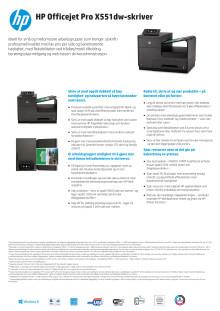 Dataark HP Officejet Pro X551dw Printer