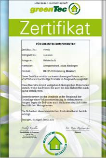 REDPUR Infrarotheizungen – jetzt mit greenTec Gütesiegel