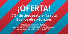 Norwegian lanza oferta de pasajes con 5% de descuento en la ruta Buenos Aires-Londres