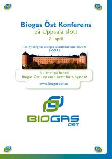Inbjudan BIOGAS Öst - Konferens den 21 april, Uppsala Slott