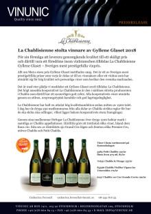 La Chablisienne stolta vinnare av Gyllene Glaset 2018
