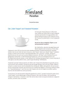 """Presseinformation: Der """"Utah Teapot"""" von Friesland Porzellan"""