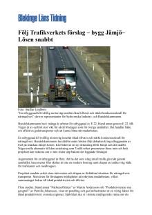 Följ Trafikverkets förslag – bygg Jämjö–Lösen snabbt