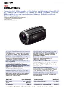 Datenblatt HDR-CX625 von Sony