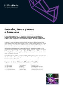 La Mercè: Estocolm, dansa pionera a Barcelona