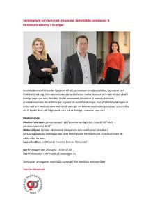 Inbjudan till seminarium om kvinnors ekonomi