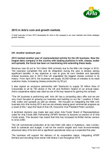 Updates from Arla's core and growth markets in 2013