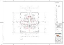 Planritning ett helt våningsplan med 4 lägenheter