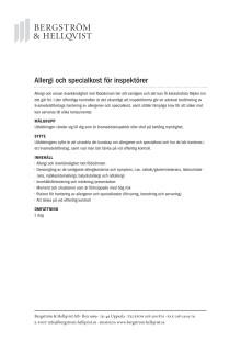 Allergi och specialkost för inspektörer