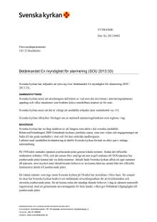 Svenska kyrkans remissvar på betänkandet En myndighet för alarmering
