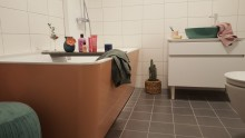 Besök vårt färgstarka badrum i Rainbow apartment, i Vallastaden Linköping