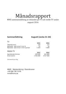 MMS månadsrapport augusti 2016
