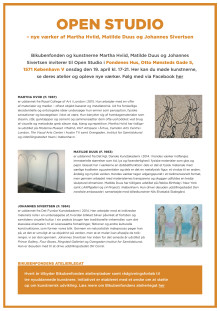 OPEN STUDIO - nye værker af Martha Hviid, Matilde Duus og Johannes Sivertsen