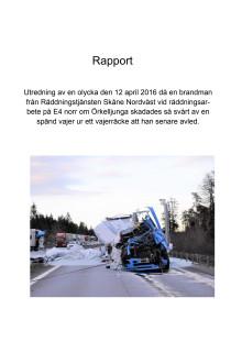 Rapport om arbetsplatsolyckan på E4:an norr om Örkelljunga den 12 april 2016