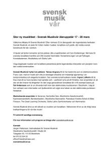 Svensk musikvår – ny festival 17–20 mars