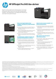 Dataark HP Officejet Pro X451dw Printer