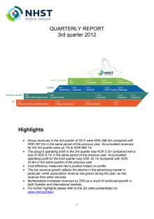 QUARTERLY REPORT 3rd quarter 2012