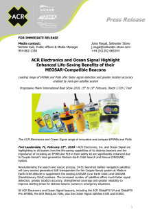 ACR Electronics and Ocean Signal Highlight  Enhanced Life-Saving Benefits of their  MEOSAR-Compatible Beacons