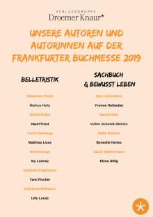 Unsere Autoren auf der Frankfurter Buchmesse 2019