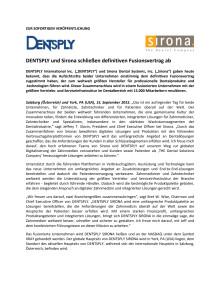 DENTSPLY und Sirona schließen Fusionsvertrag ab
