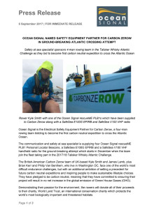 Ocean Signal Named Safety Equipment Partner for Carbon Zerow in Ground-Breaking Atlantic Crossing Attempt