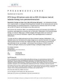 BTS Group AB tecknar avtal värt ca SEK 23 miljoner med ett ledande företag inom petrokemibranschen