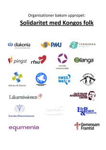 """Organisationer bakom """"SOLIDARITET MED KONGOS FOLK"""""""