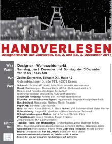Designer-Weihnachtsmarkt auf Zollverein: HANDVERLESEN - am ersten Adventswochenende  am Zollverein-Turm