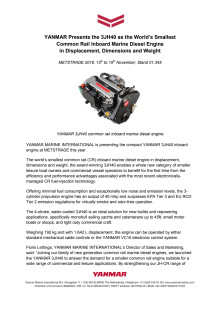 YANMAR Presents the 3JH40 as the World's Smallest Common Rail Inboard Marine Diesel Engine in Displacement, Dimensions and Weight