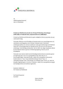 Remissvar förändringar i förordningen friskolor