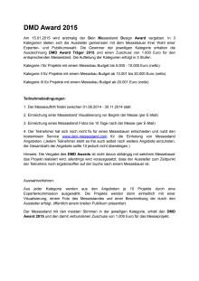 DMD Award - Bedingungen und Anmeldeformular