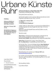 Einladung Jahrespressekonferenz mit Programmvorstellung Ruhr Ding