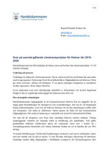 Svar på samråd gällande Länstransportplan för Kalmar län 2018-2029
