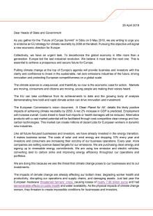 Upprop till EU-ledare om nollutsläpp 2050