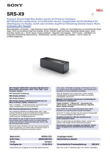 Datenblatt_SRS-X9 von Sony