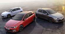 Sportiga bilikoner i Genève – Volkswagen presenterar nya Golf GTI, GTE och GTD