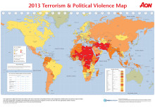 Forty-four percent of countries measured have identifiable terrorism risk in 2013, says Aon