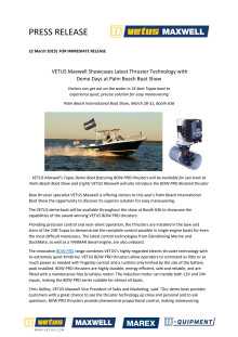 VETUS Maxwell Showcases Latest Thruster Technology with Demo Days at Palm Beach Boat Show