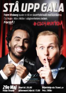 Måns Möller och Özz Nûjen bjuder in till stå upp gala på Gotland till förmån för #C2C4 AUTISM - Insamlingsstiftelsen Idrott för Barn i  behov.