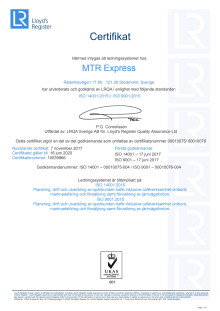 Certifikat MTR Express ISO 9001 + ISO 14001