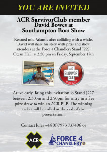ACR Electronics Invitation to Force 4 Stand J227 at 2.50pm on Friday, September 15th at Southampton Boat Show