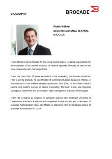 Frank Kolmel Biography, Senior Director EMEA- Central, Brocade