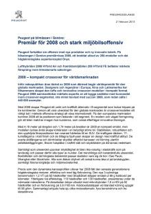 Peugeot på bilmässan i Genève: Premiär för 2008 och stark miljöbilsoffensiv
