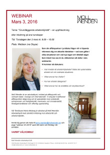 """Webinar - 3/3 - 2016 Tema: """"Grundläggande arbetsmiljörätt"""" – en uppfräschning eller inledning på era kunskaper"""