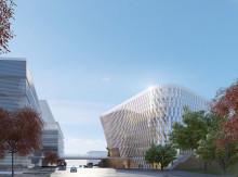 Utmärkande profilbyggnad när Akademiska Hus bygger aula åt Karolinska Institutet i Solna