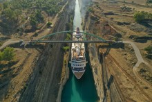 Fred. Olsen Cruise Lines' guests experience record-breaking transit of historic Corinth Canal on largest-ever ship 'Braemar'